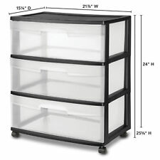 Sterilite 3 Drawer Cart Wide Rolling Cabinet Box Plastic Extra Storage Black W