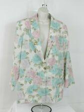 Vintage Sag Harbor Womens  White Floral Blazer Jacket Size 14 One Button