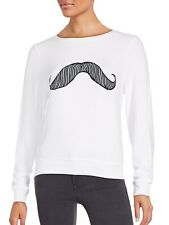 Wildfox Couture Womens Mustache Pullover Sweater in White size Small