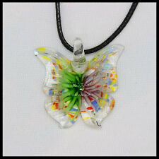 Fashion Women's butterfly lampwork Murano art glass beaded pendant necklace #A31