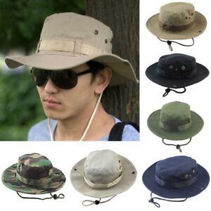 Men's Camo Military Boonie Cap Sun Brim Bush Army Fishing Hiking Bucket Hat Hot