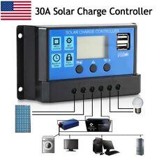 30A Dual USB Solar Panel Battery Charge Controller LCD Regulator 12V 24V