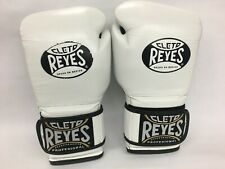 Cleto Reyes Hook and Loop Leather Training Boxing Gloves- 16 oz - White