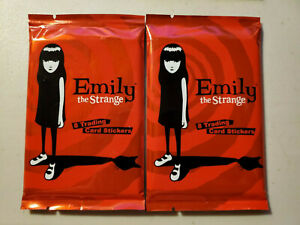 2 Packs EMILY THE STRANGE Trading Card Stickers Packs - New Sealed Rare