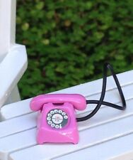 Miniature Dollhouse FAIRY GARDEN Accessories ~ TINY Pink Metal Retro Telephone