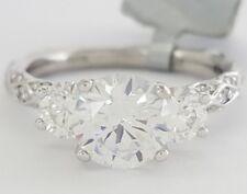 0.75 ct DIANA Platinum Three Stone Round Semi-Mount Engagement Ring