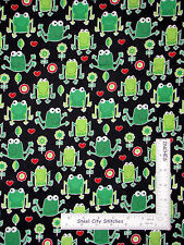 Animal Fabric -  Frog Toad Ribbit Green Frogs Timeless Treasures C4109 - Yard