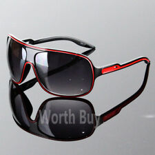 Mens Womens Wrap Around Oversized Designer Sunglasses Shades Fashion Black Red