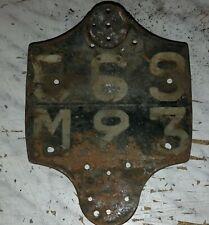 plaque immatriculation arriere moto collection années 30 40 monet goyon S17