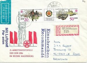 EAST GERMANY REG FDC SEHMA-NETHERLANDS PAID 70pf WORKERS FESTIVAL REF 4062