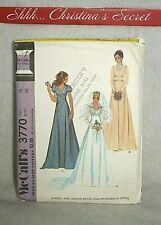 UNCUT VINTAGE 1970s McCALLS 3770 Wedding Gown Bride Bridesmaid  Dress Sz 14