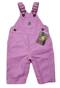 NEW Carhartt Girls Snap Up Leg Canvas Bib Overalls Pink Size 3M 3 Months
