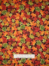 Fall Leaves Fabric - Tossed Autumn Leaf on Black - Timeless Treasures YARD