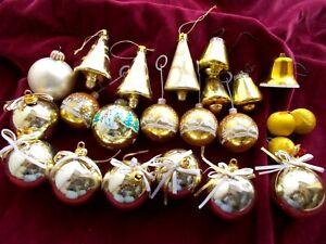 BUNDLE OF VINTAGE GOLD BAUBLES & BELLS~CHRISTMAS TREE DECORATIONS  c1970s