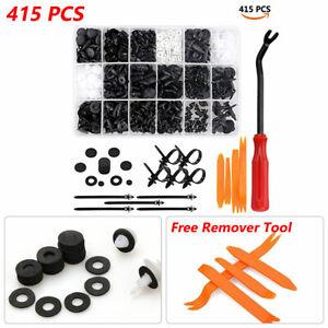 415PCS Car Auto Push Pin Rivet Fender Bumper Trim Clips Fastener Kit 18 Sizes