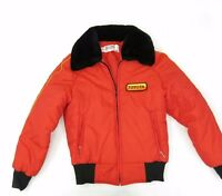 Vtg 70s Toyota USA Made Toyotaline Puffer Red Jacket Faux Fur Collar Men's XS