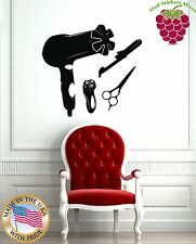Wall Stickers Vinyl Decal Barber Salon Spa Hair Dryer Scissors z1059