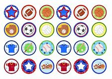 24 icing cake toppers decorations sports mixed football baseball basketball star