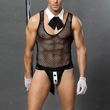 Men Sexy Transparent Police Uniform Cosplay Costume Tops Bar Party Underwear