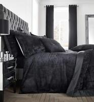 Catherine Lansfield Luxury Crushed Velvet Duvet Quilt Cover Bedding Range Black