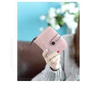 Wallet Women Short Purse Folding Card Holder Clutch PU Grind Soft Light Breath