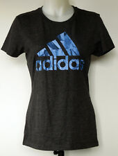 Adidas Dark Gray S/S Cotton/Poly T-Shirt with Blue Logo Women's S