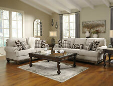 NEW Traditional 2 piece Living Room Tan Chenille Sofa Couch & Loveseat Set IG2I