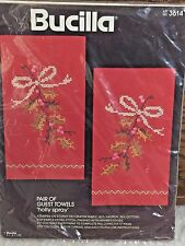 NEW Bucilla HOLLY SPRAY Pair of Guest Towels Red Stamped Cross Stitch Kit
