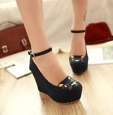 Womens Round Toe Platform High Wedge Heel Suede Ankle Strap Party Shoes Pumps SZ
