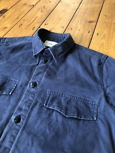 Folk Clothing, Lined Chore Jacket, Small, Navy Blue (Oi Polloi, Goodhood, etc)