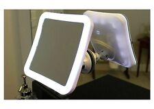 Shower Mirror With Light Shaving No Fog Bathroom Tilt White Suction Swivel 7x