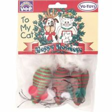 VOTOYS XPET HOLIDAY CHRISTMAS BRAIDED MICE CAT TOYS 3 PACK. FREE SHIP TO USA