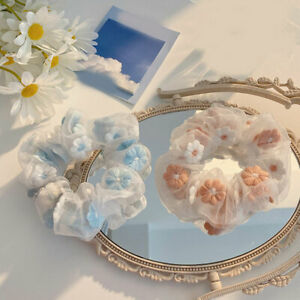 Girls Organza Hair Tie Mesh Scrunchies Embroidery Flowers Bands Ponytail Holder