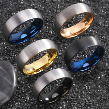8mm Dome Mens Tungsten Ring Silver Brushed Black Gold Blue Inlay Wedding Band