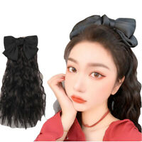 16'' 40cm Lady Synthetic Ponytail Tie on Drawstring Hair Extension with Bow-Knot