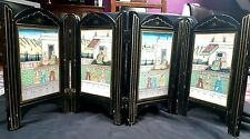 Beautiful Antique Indian Hand Painted Four Fold Wooden Table Screen c 1900