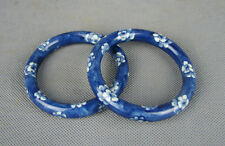 China old blue white porcelain painted plum blossom design pair bracelet