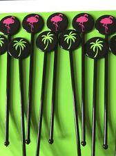 12 Negro Flamingo cóctel agitadores Swizzle bebidas Mezclador Flamingo Palmera