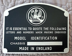 Vauxhall Victor F Type Chassis Tag Reproduction