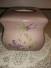 "MacArthur Park Ceramic Tissue Cover. Purple with orchids.6"" tall x 6.5"" wide"