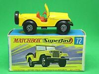 Matchbox Lesney Superfast No.72b Standard Jeep In Type 'G2' With 'New' Box