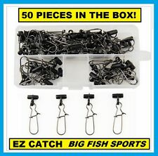 50 Sinker Slides BLACK Duo Lock Snap Fish Finders Braided Line INCLUDES FREE BOX