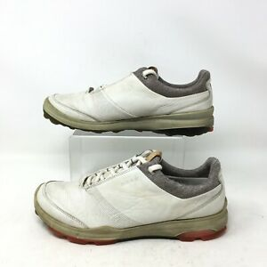 Ecco Hybrid 3 GoreTex Golf Shoes Sneakers Lace Up Yak Leather White Mens 9/40