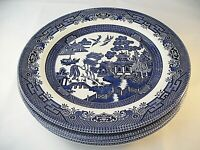 Churchill Blue Willow Set of (4) Dinner Plates England Retired Georgian
