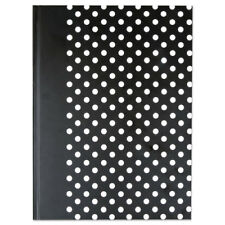 UNIVERSAL Casebound Hardcover Notebook 10 1/4 x 7 5/8 Black with White Dots