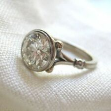 2.25 Ct Near White Moissanite Forever Bezel Engagement Ring 925 Sterling Silver