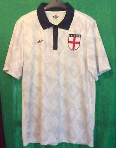 Umbro England Training Polo Football Shirt White Mens Large