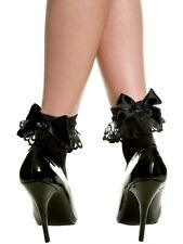 Sexy Leg Avenue Black Anklet Socks w Lace Ruffle and Black Bow