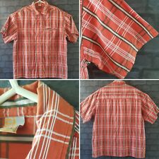 mens rip curl red check collared short sleeve shirt size xl beach casual