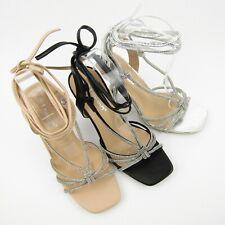 sandali donna strass brillantini eleganti tacco 10 lacci schiava